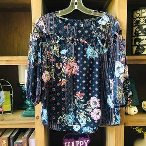 Floral Blouse with Cut Out Details -E3